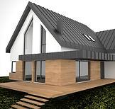 nowoczesny prosty dom, prosta bryła, drewno na elewacji, architekt Kraków