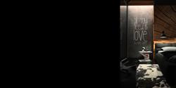 czarna sypialnia, tapeta z pniem