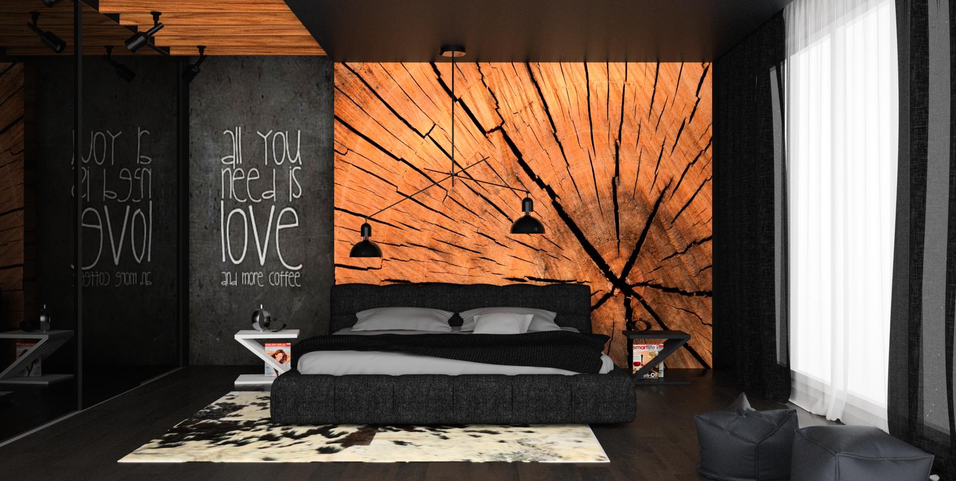 drewno w sypialni