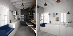 czarno biała kuchnia miedziane lampy
