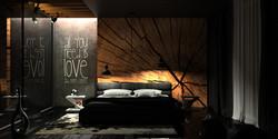 czarna sypialnia z drewnem