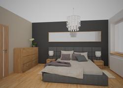 sypialnia z szarą ścianą