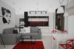 projekt biało czarnego salonu