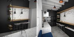 czarno biała zabudowa kuchni