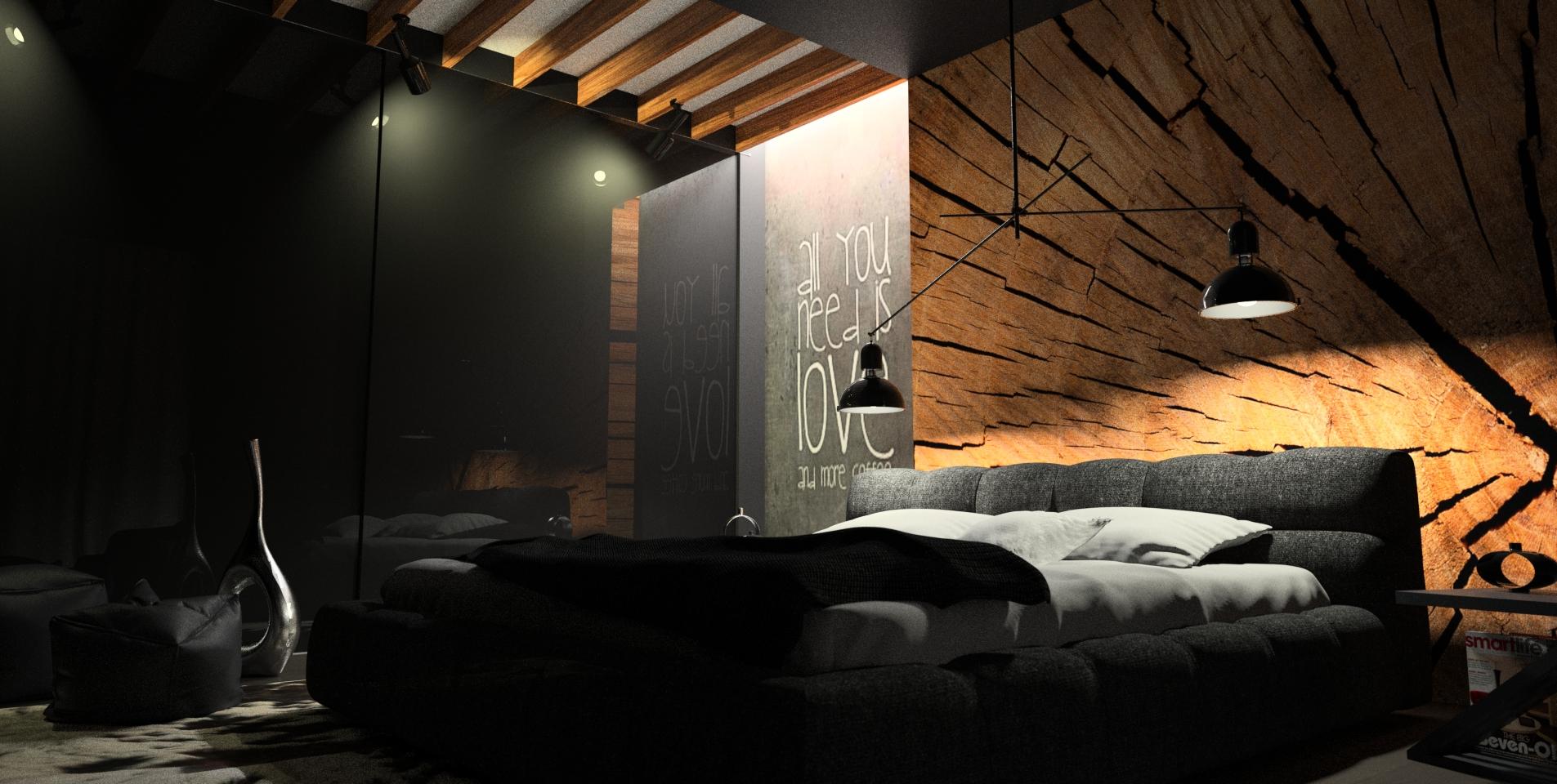 projekt czarnej sypialni