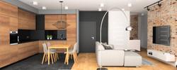 czarna ściana w salonie