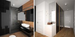 czarna łazienka z elementami drewna