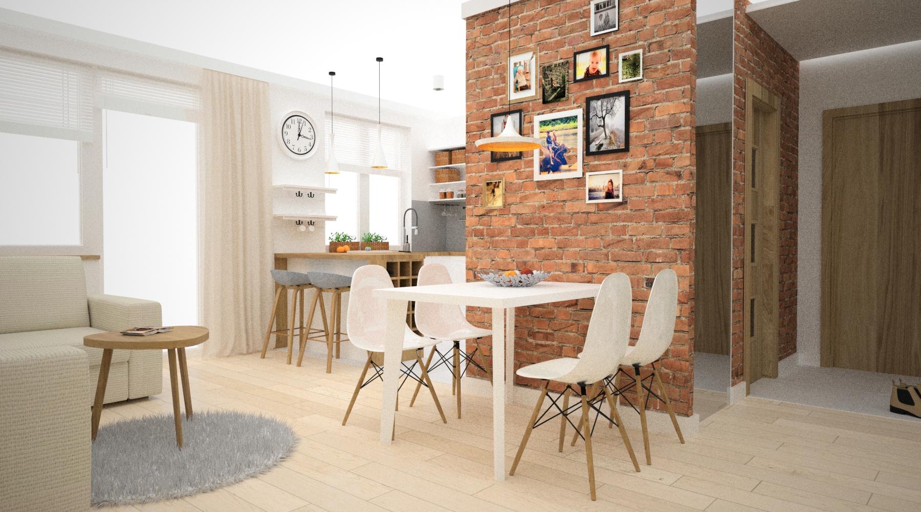 ściana z cegły w salonie