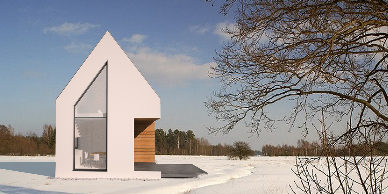 biały prosty dom