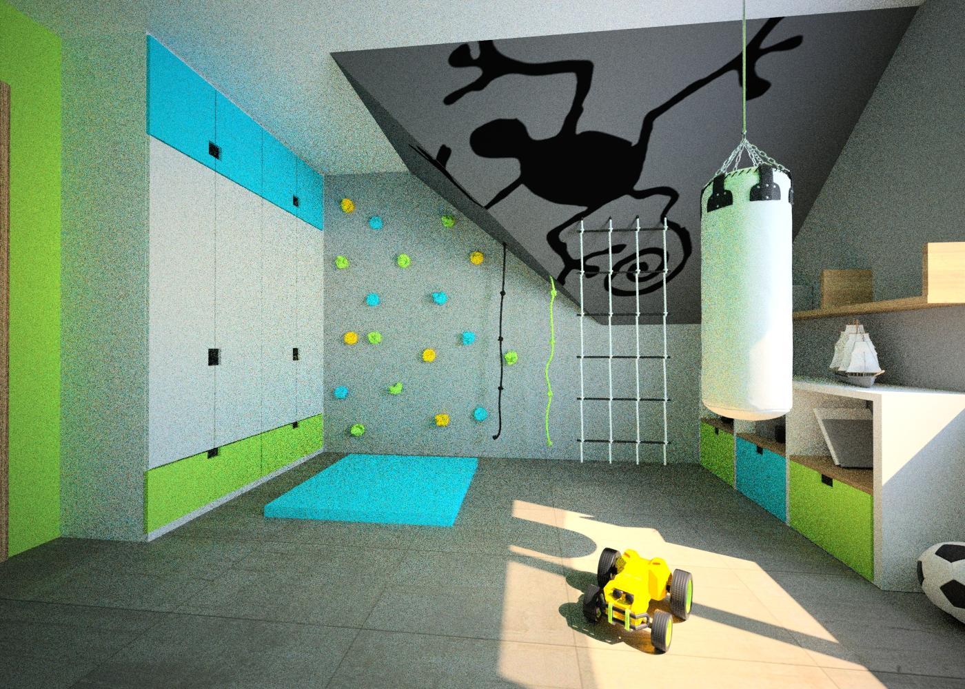 pokój dla chłopca ścianka do wspinan