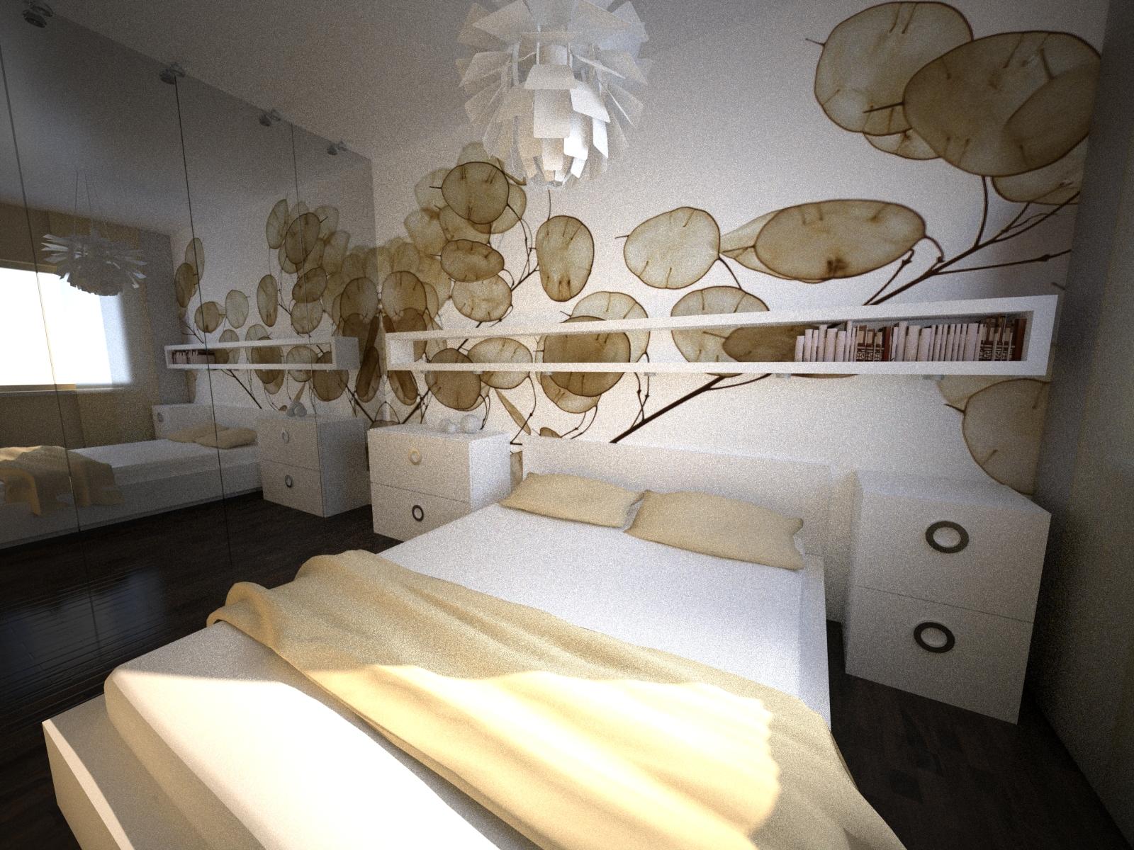 projekt sypialni tapeta