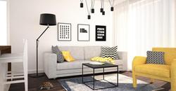 salon z żółtymi dodatkami