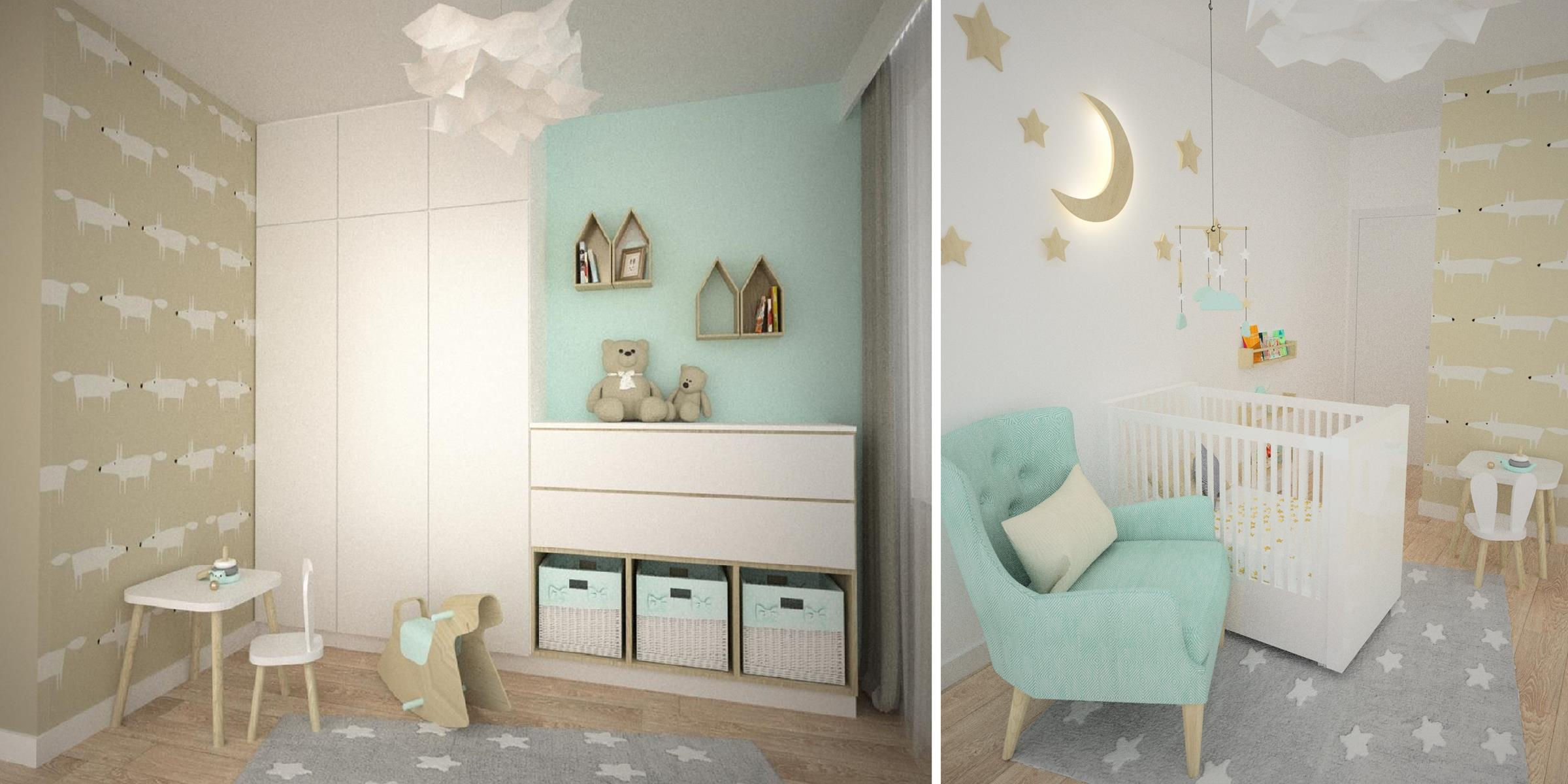 biało miętowy pokój dla dziecka