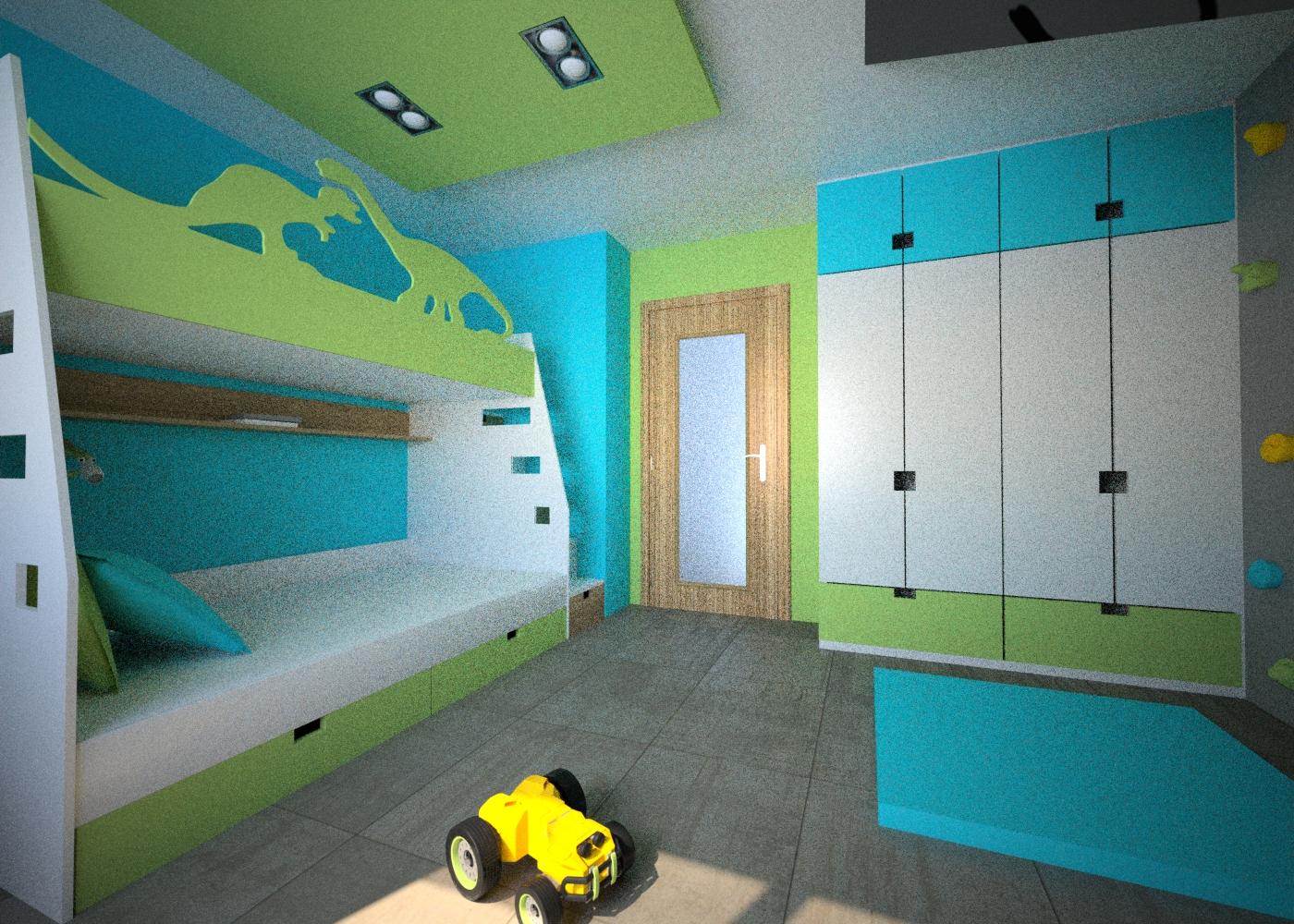 łóżko piętrowe dinozaury
