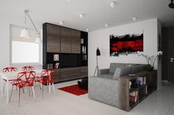 salon z czerwonymi dodatkami