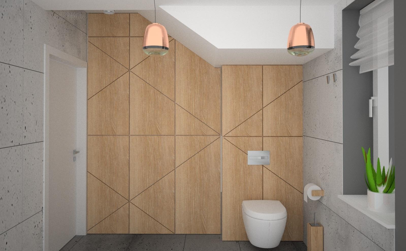 zabudowa z drewna w łazience