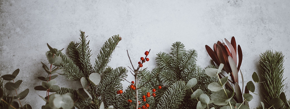 Christmas garland and evergreen branches
