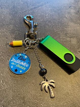 """Porte-clés """"Elue institutrice de l'année"""" + clé USB"""