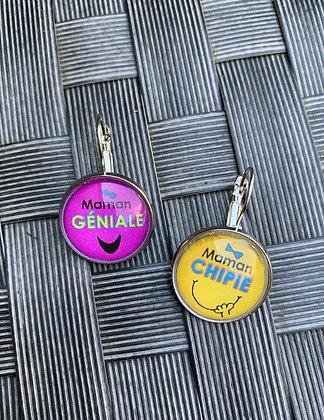 Boucles d'oreilles Maman géniale & chipie