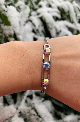 Bracelet triple Swarovski argenté & multi-reflets