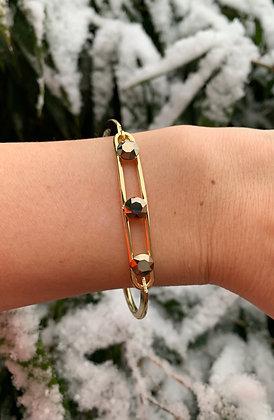 Bracelet triple Swarovski doré