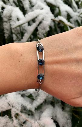 Bracelet triple Swarovski  argenté & bleu marine