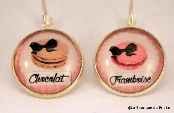 "Boucles d'oreilles ""macarons chocolat/framboise"""