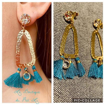 """Modèle """"Nyna"""" dorées / Turquoise"""