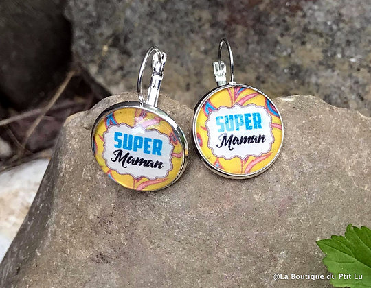 """Boucles d'oreilles""""Super Maman""""argentées"""
