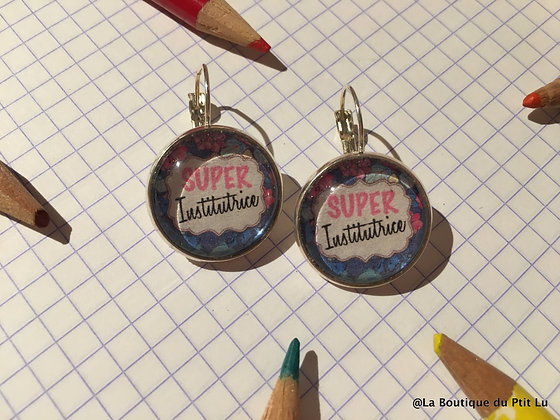 "Boucles d'oreilles ""Super institutrice"""