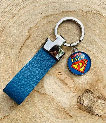 "Porte-clés cuir ""Super Papa"""