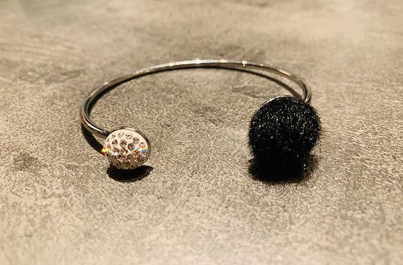 Bracelet argenté Pavé Pur blanc