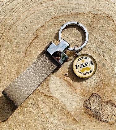 """Porte-clés cuir """"Super Papa d'amour"""""""