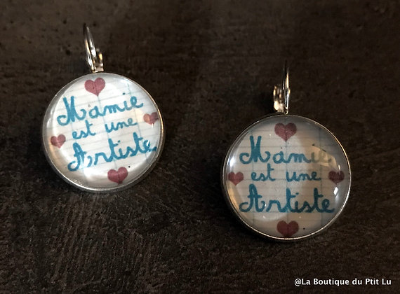 """Boucles d'oreilles """"Mamie est une artiste"""""""