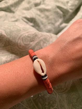 Bracelet Cauri corail & noir