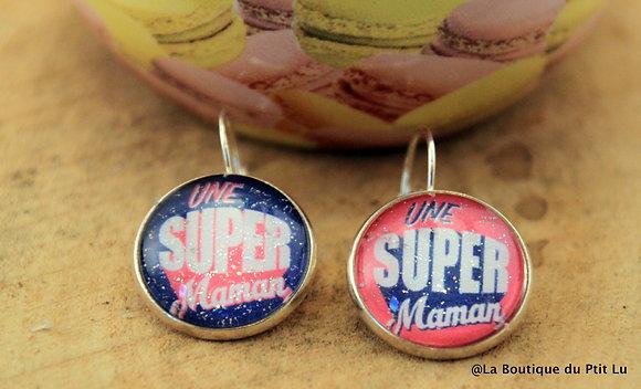 """Boucles d'oreilles """"Super Maman"""""""