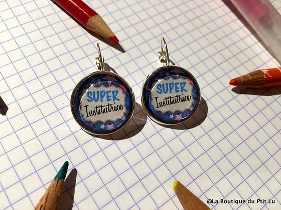 """Boucles d'oreilles """"Super institutrice"""""""