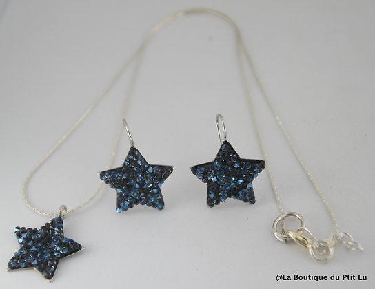 Parure collier/boucles d'oreilles étoiles