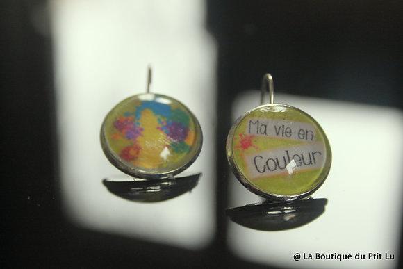 """Boucles d'oreilles cabochons """"ma vie en couleurs"""""""