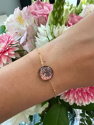 Bracelet *Inéa* paillettes rosées