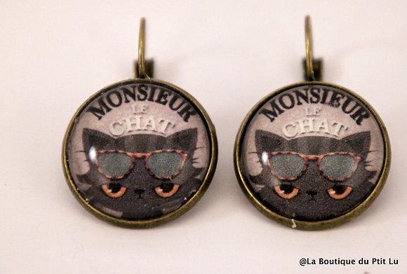 """Boucles d'oreilles """"Monsieur le chat"""""""