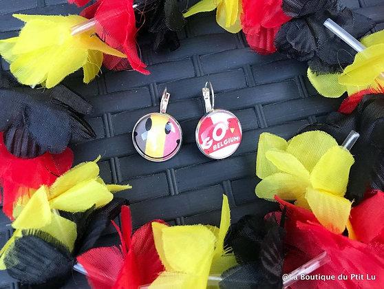 """Boucles d'oreilles """"Go Belgium & Smiley"""""""