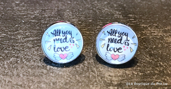 "Perceuses 14mm ""all you need is love"" argentées"