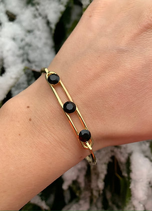 Bracelet triple Swarovski  doré & noir
