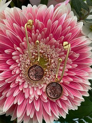 Boucles d'oreilles *Inéa* paillettes rosées