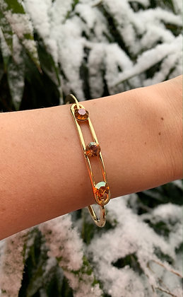 Bracelet triple Swarovski doré & camel