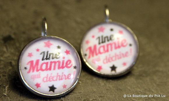"""Boucles d'oreilles cabochons """"Mamie qui..."""""""