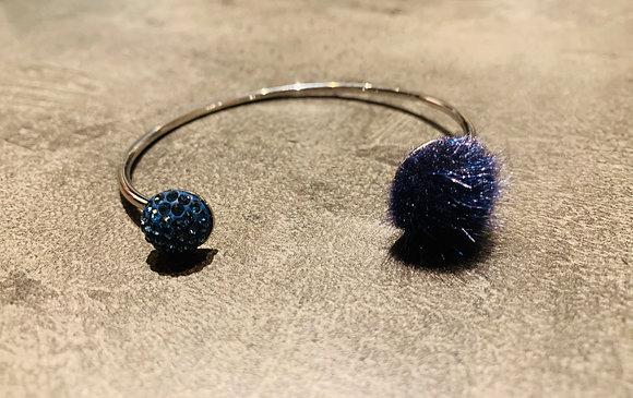 Bracelet argenté Pavé Pur bleu