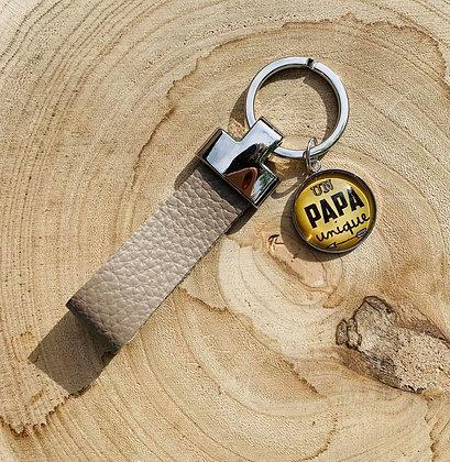 "Porte-clés cuir ""Un Papa Unique"""