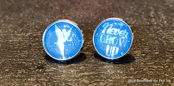 """Perceuses 14mm """"Never grow up"""" argentées"""